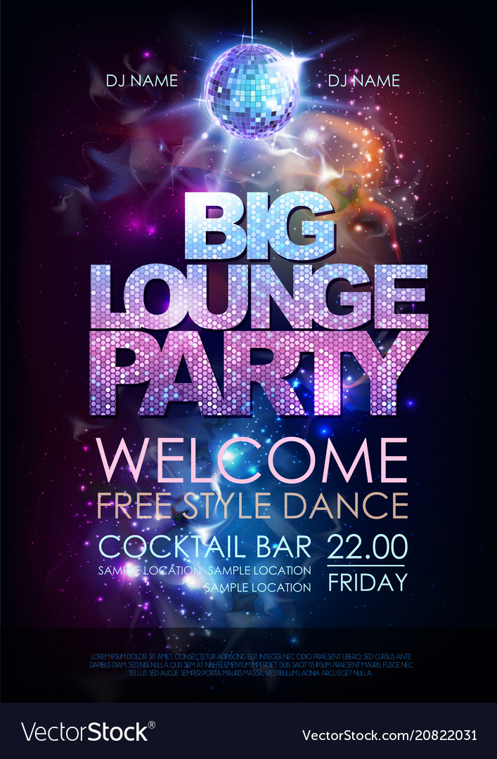 Disco ball background disco big lounge party