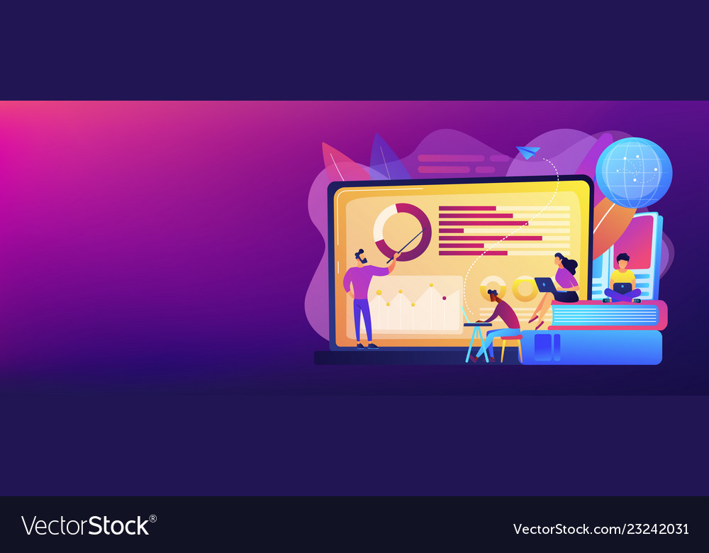 Distance Learning Concept Banner Header Royalty Free Vector