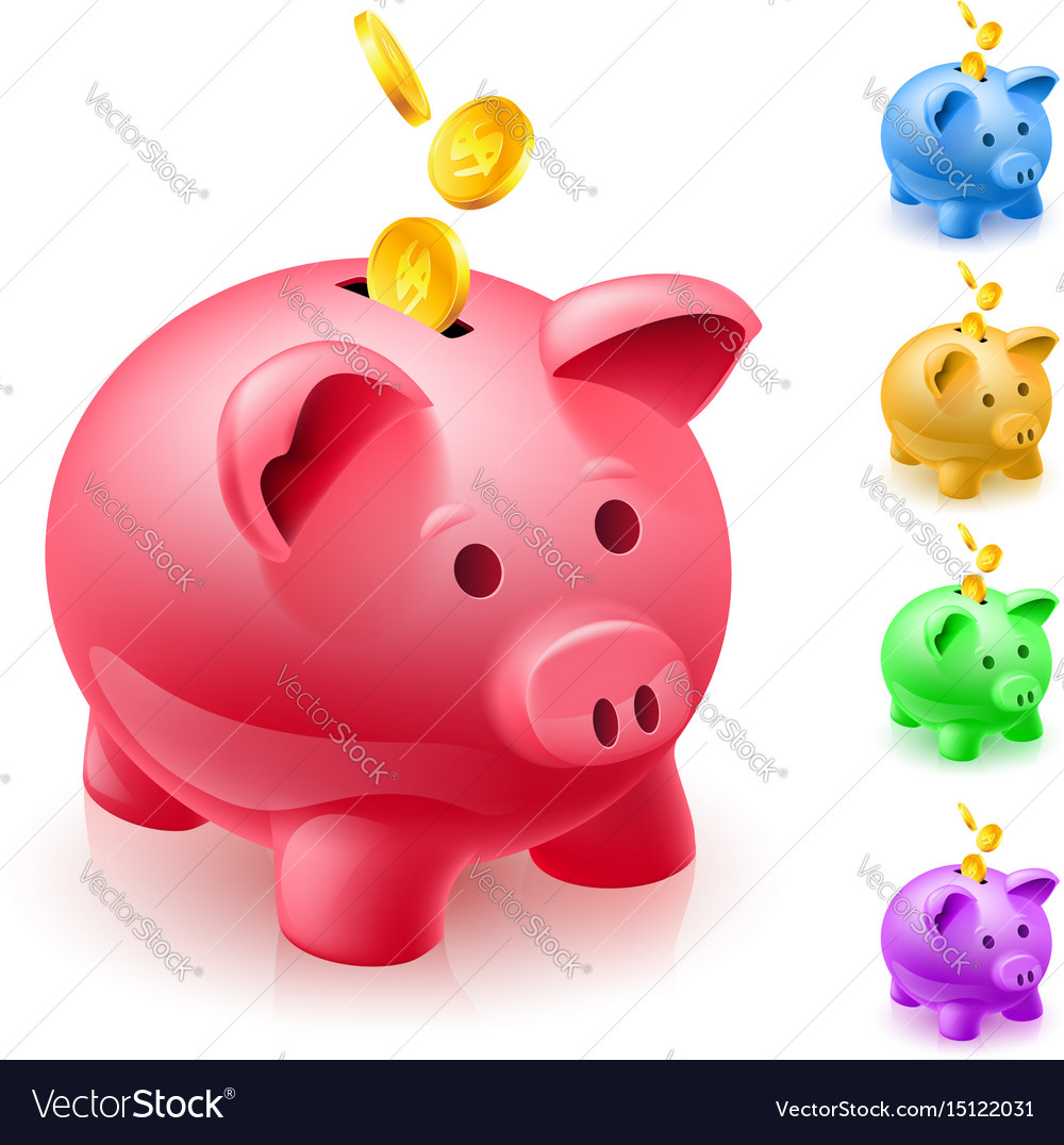Five colorful piggy banks of designer on white vector image