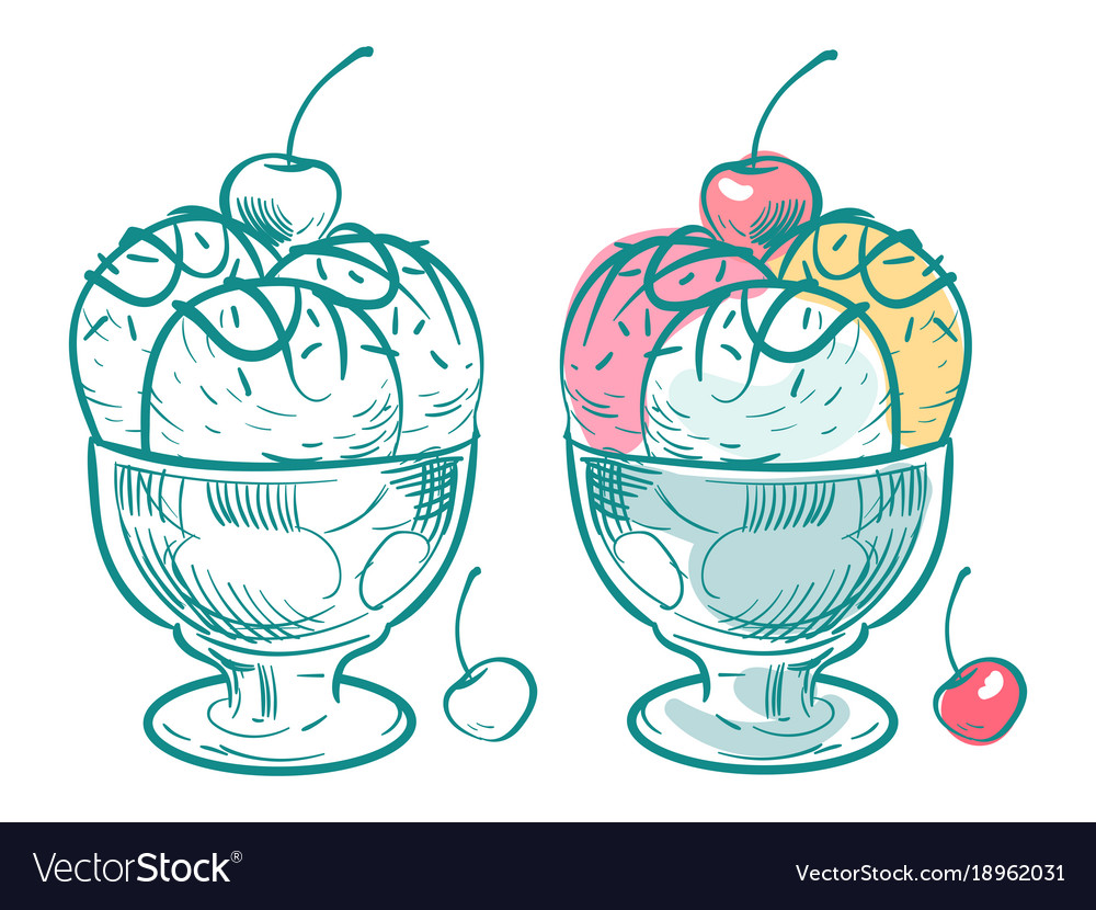 Hand drawn ice cream coloring page Royalty Free Vector Image