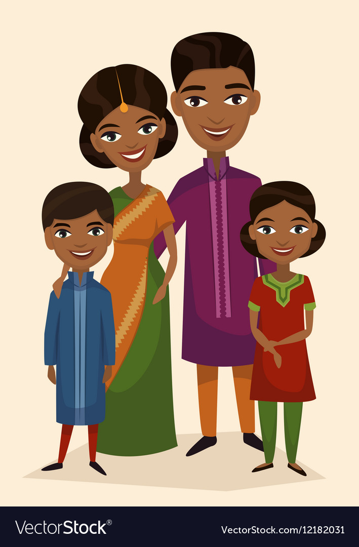 Happy indian family couple with children