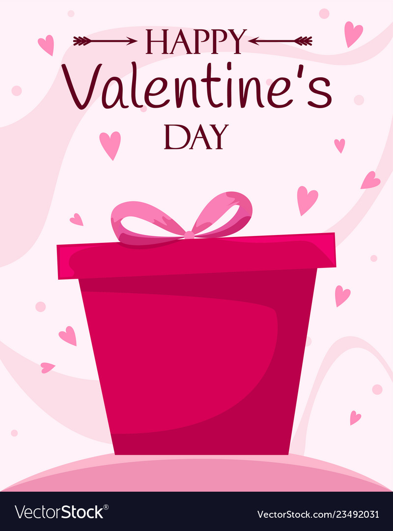 Happy valentines day poster with a gift box flat