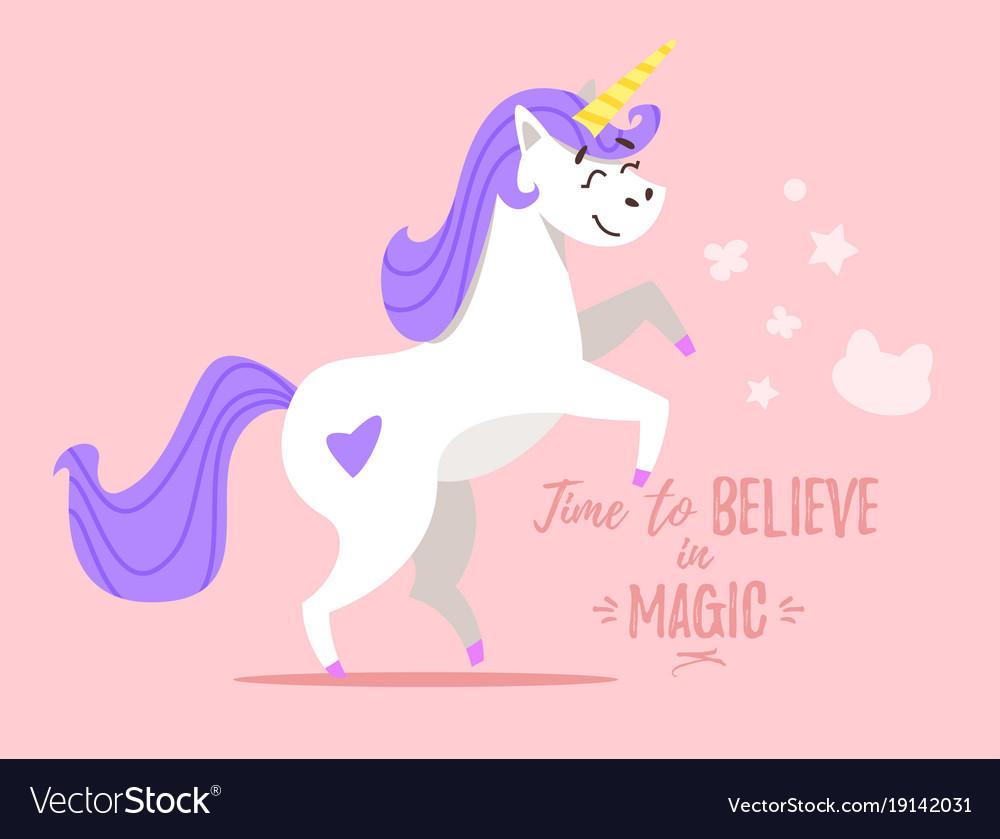 Happy white unicorn