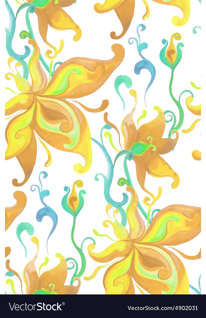 Seamless pattern with watercolor fantasy flowers vector image