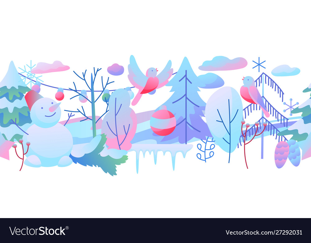 Seamless pattern with winter items