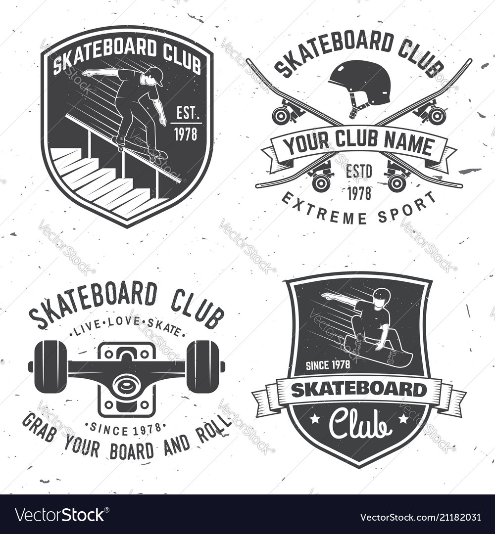 Set of skateboard club badges
