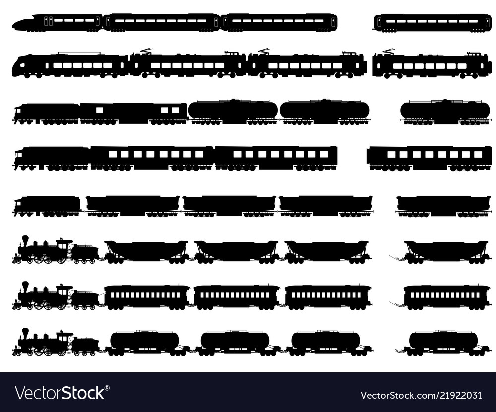 Silhouettes of trains and locomotives