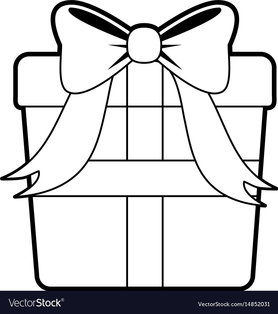 Sketch silhouette image giftbox with wrapping bow