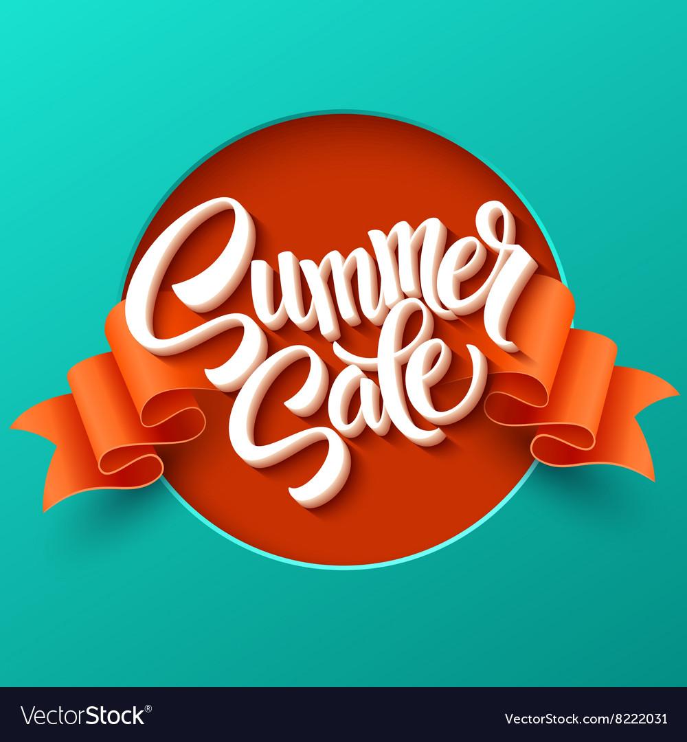Summer Sale lettering Ribbon background