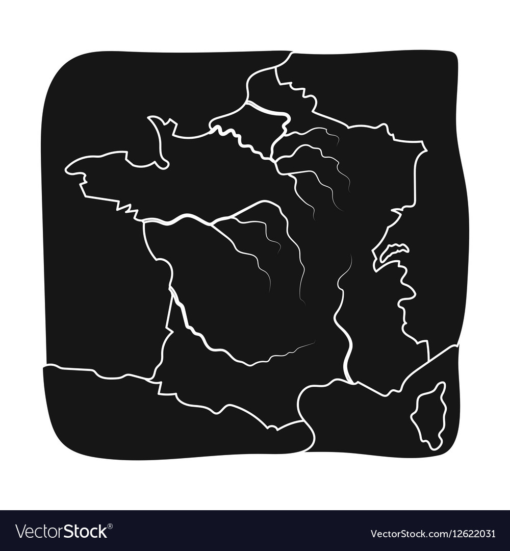 Territory of France icon in black style isolated