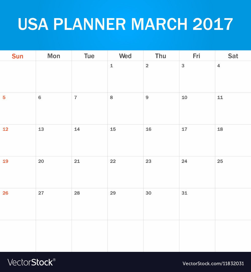picture about Blank Planner named United states of america Planner blank for March 2017 Scheduler schedule