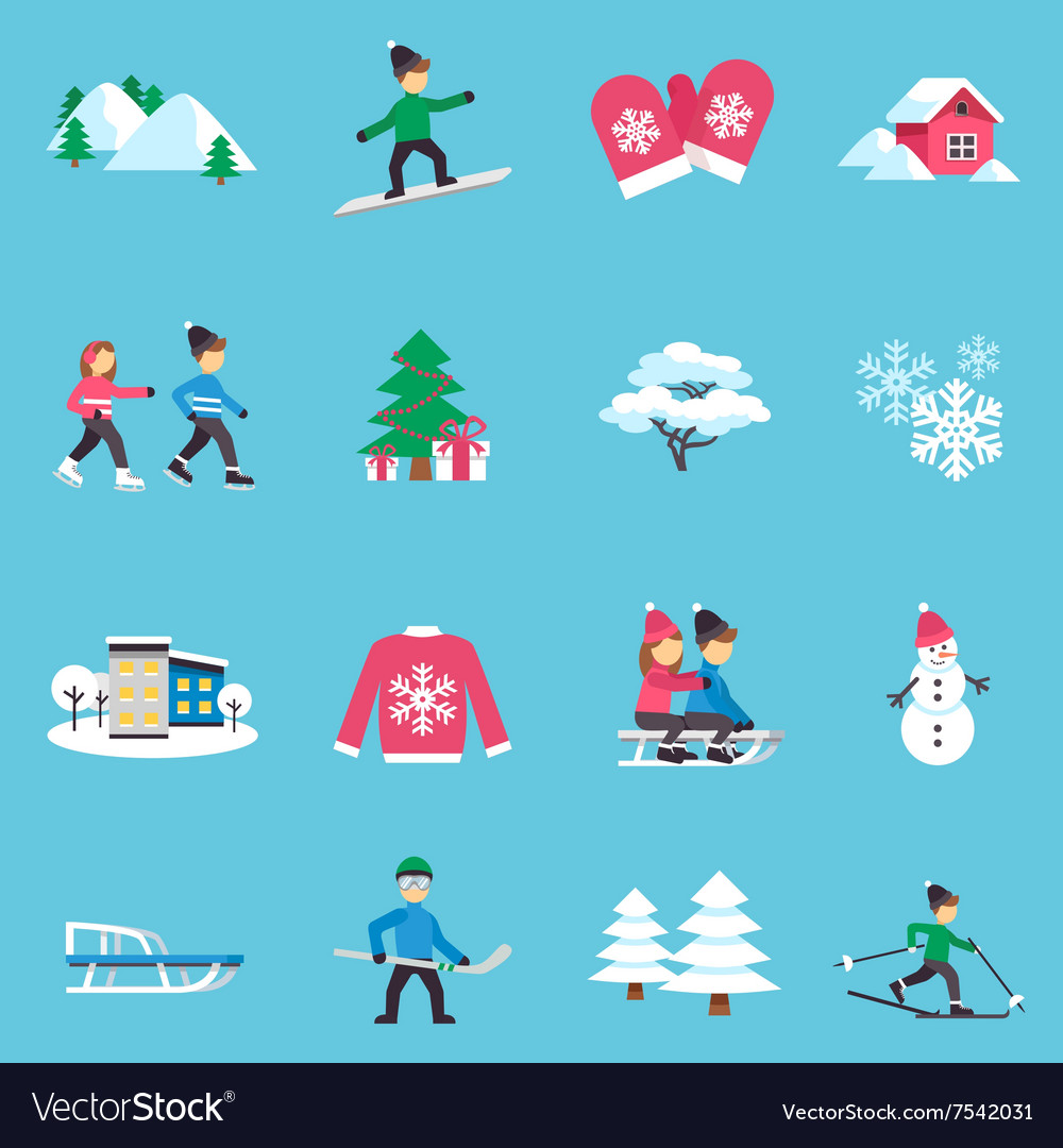 Winter Flat Icons Set vector image
