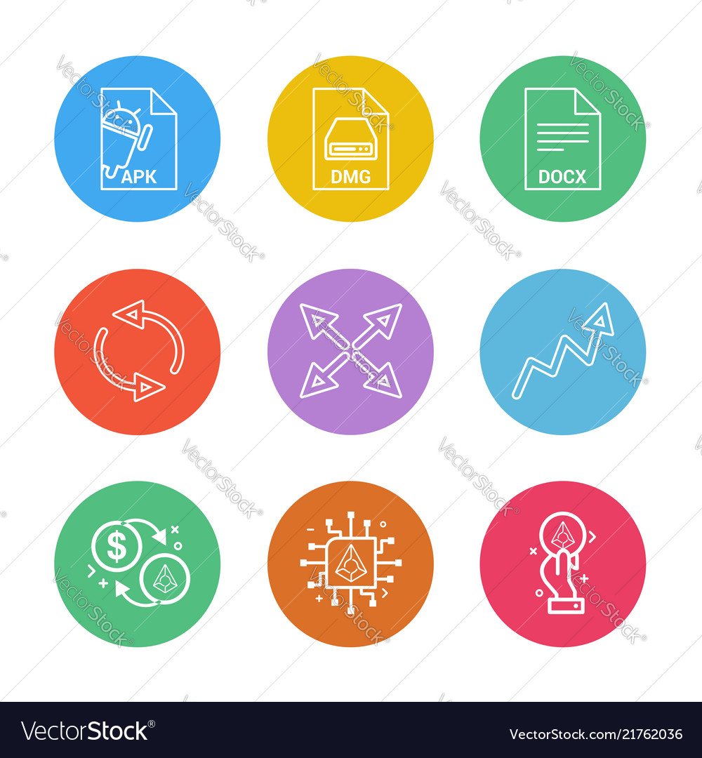 Apk android dmg apple docx docuument reset vector image on VectorStock