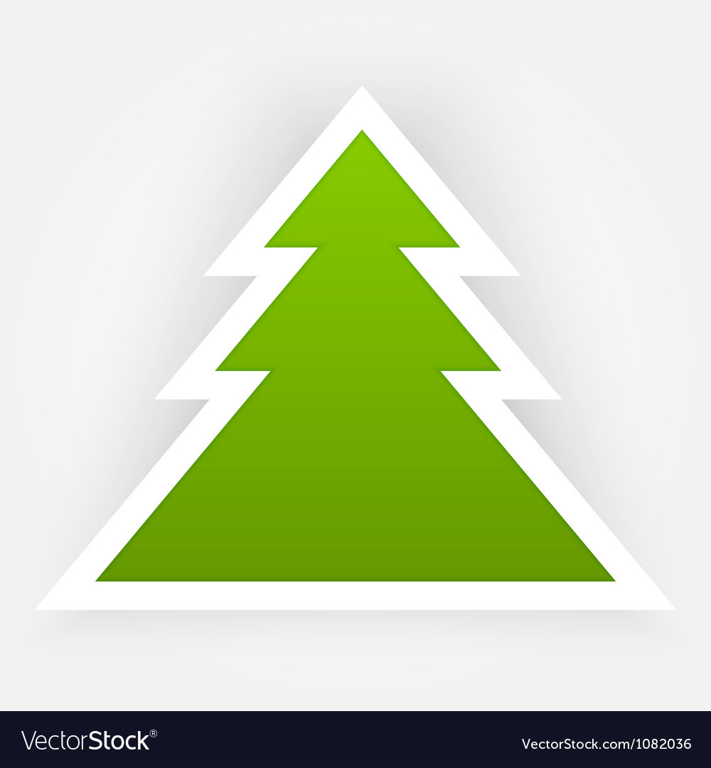 Green Paper Christmas Tree Applique vector image