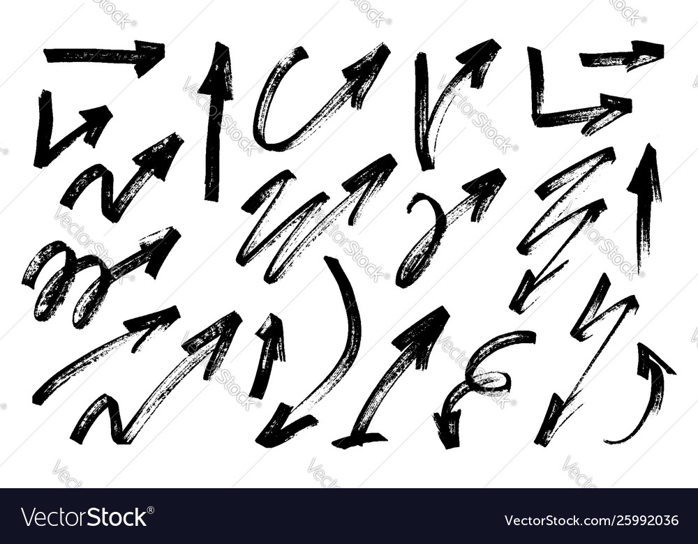 Hand drawn grunge arrows set