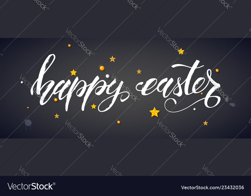 Handwritten text happy easter with golden toys on