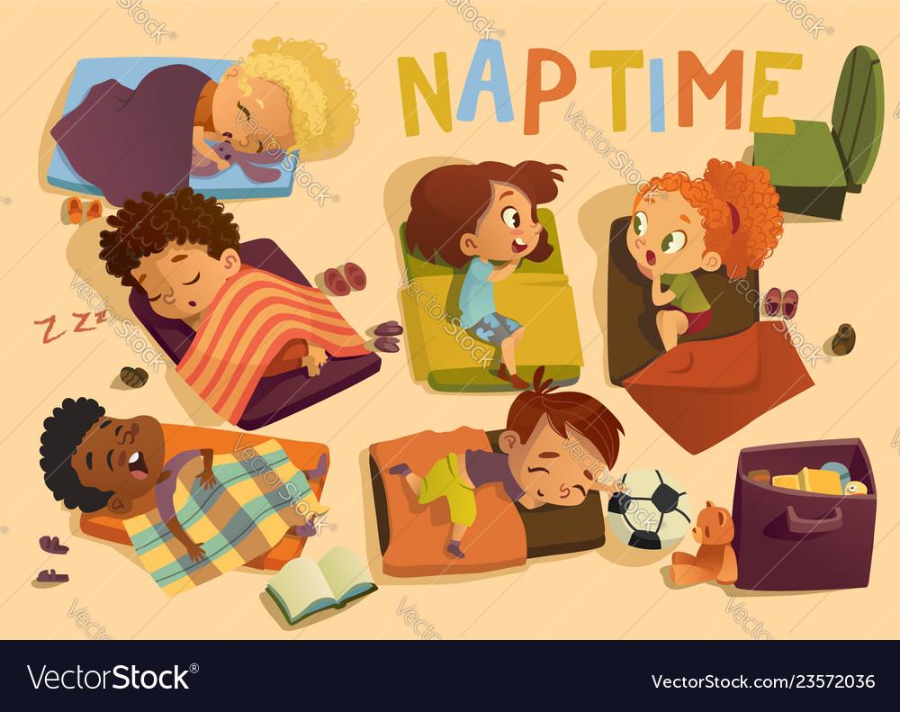 Kindergarten nap time kid Royalty Free Vector Image Nap Time Clipart For Preschool