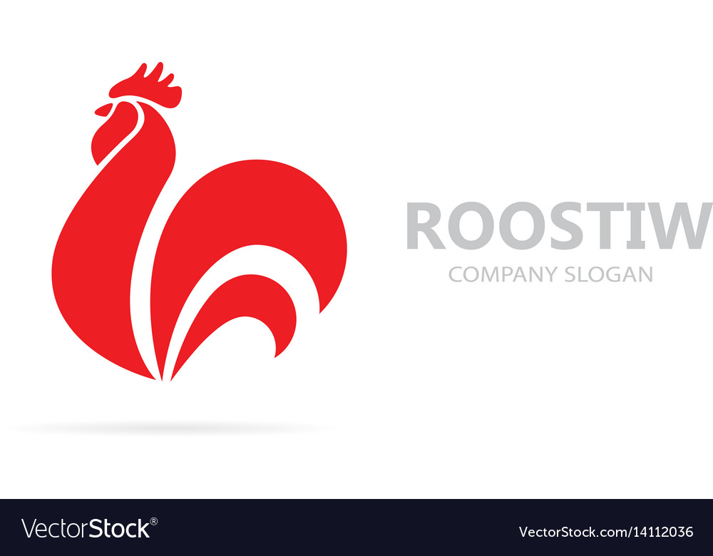 Red fire rooster and cock logo