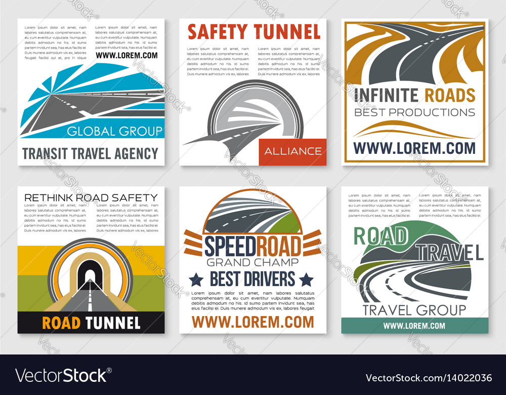 road travel and traffic safety flyer template vector image
