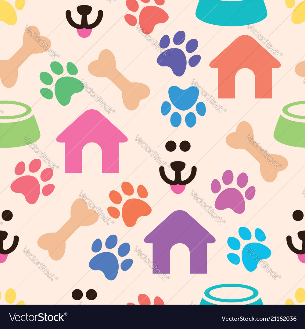 Seamless and colorful pet pattern