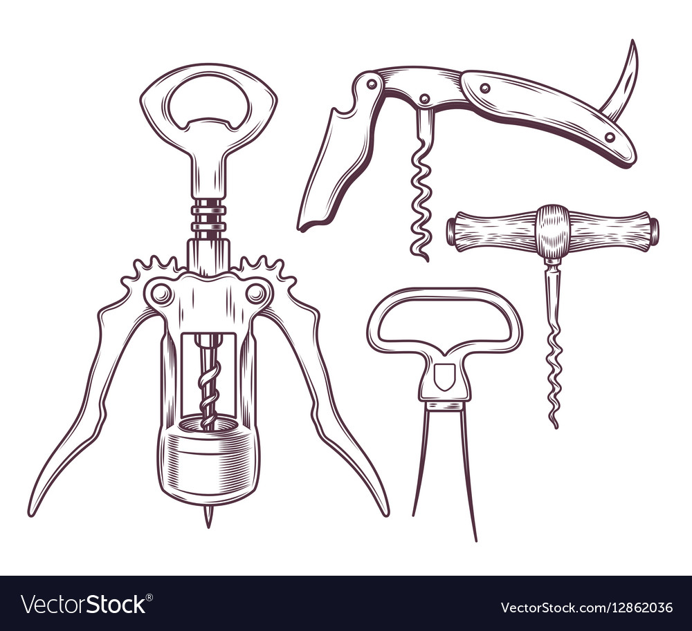 Set of corkscrews tailspins openers