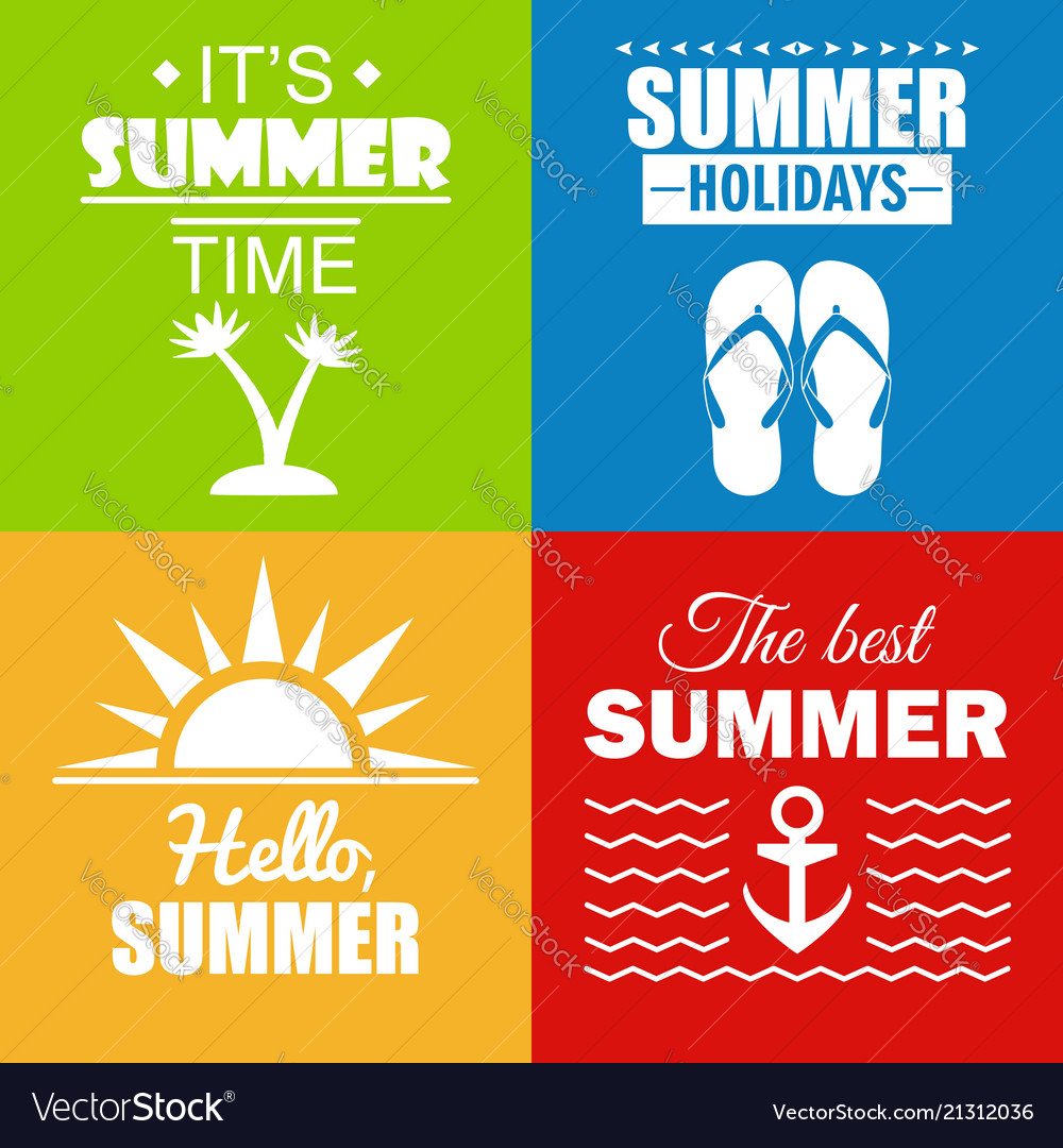 Set of summer posters and cards