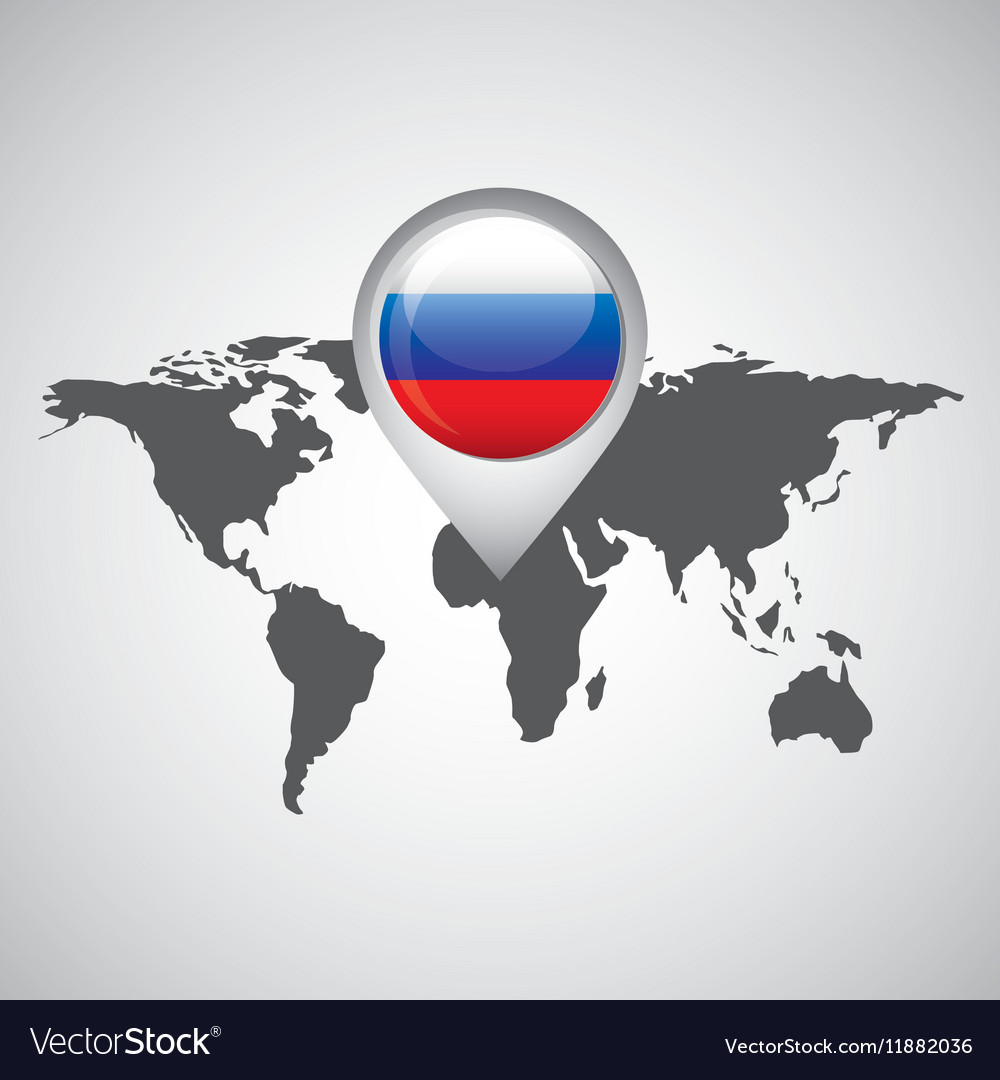 Flag World Map.World Map With Pointer Flag Russian Royalty Free Vector