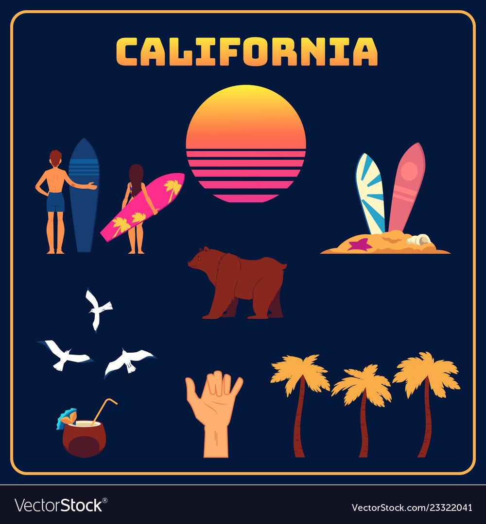 California symbols set sun surfers palms