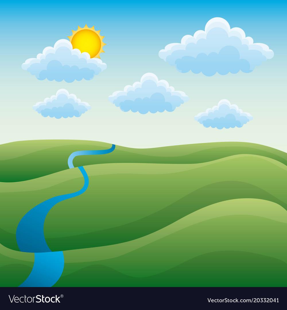 river landscape cartoon