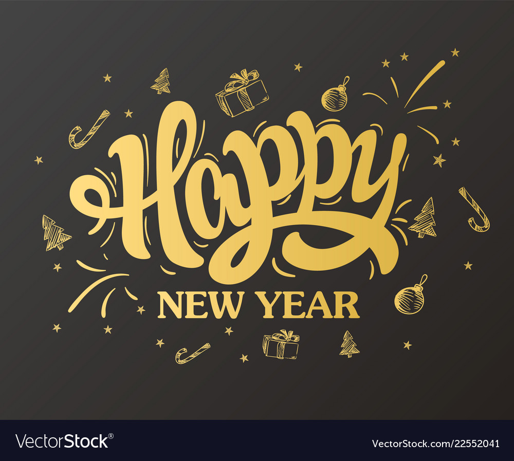 Happy new year lettering gold design