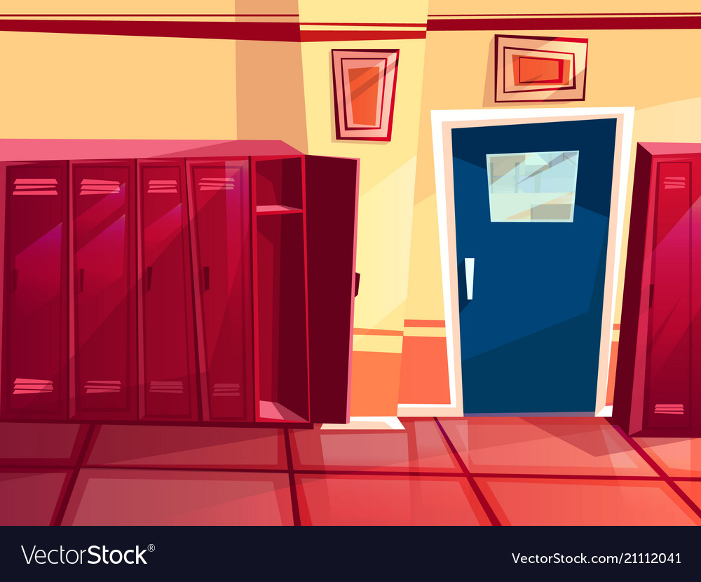 Locker room gym cartoon royalty free vector image