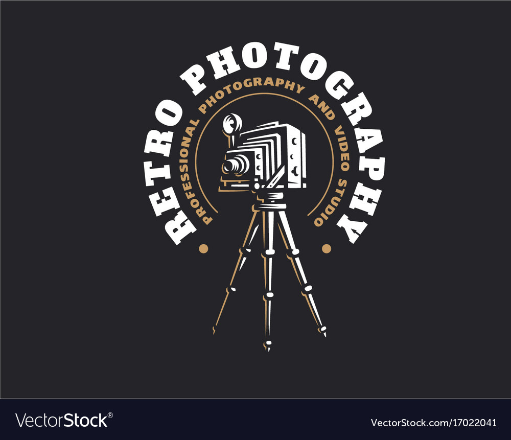 Retro photo camera logo