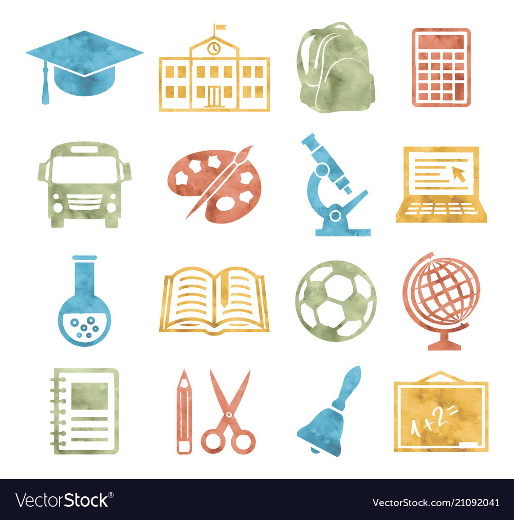 School and education icons watercolor style vector image