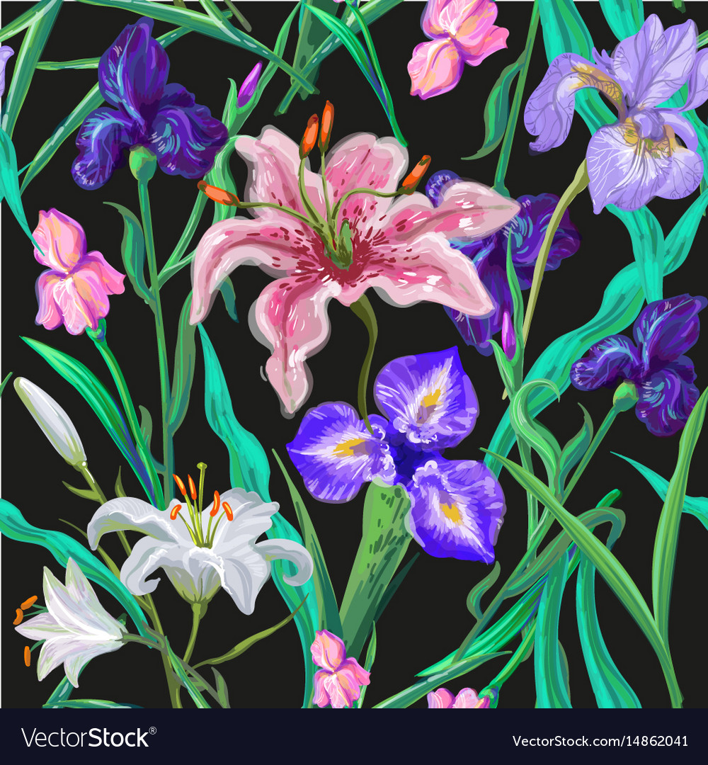 Seamless Pattern With Flowers Iris Lily Royalty Free Vector