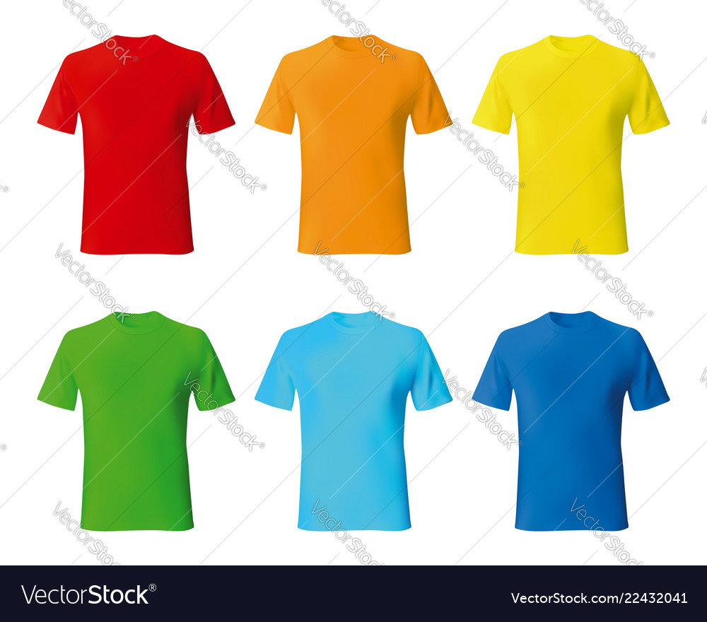 Set Color Male Tshirt Template Realistic Mockup Vector Image