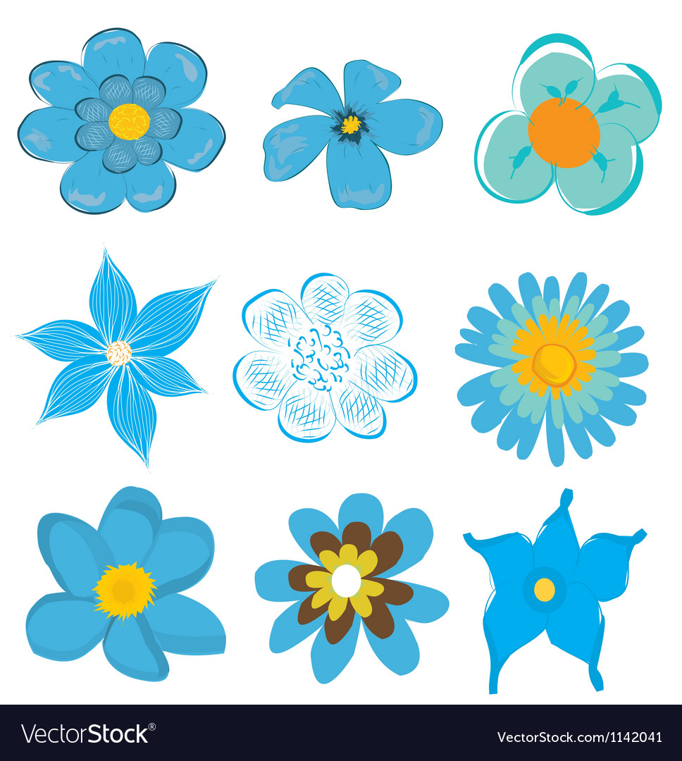 Set of blue flowers