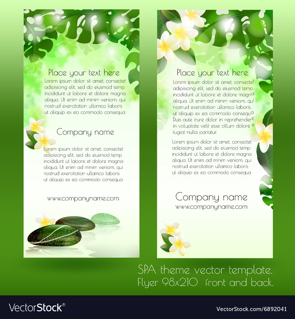 spa card design template with leaves royalty free vector