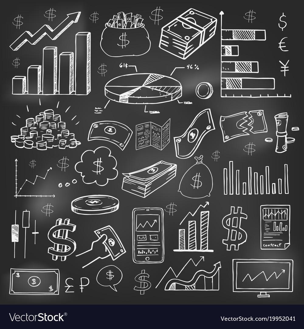 Stock market had drawn symbols on blackboard