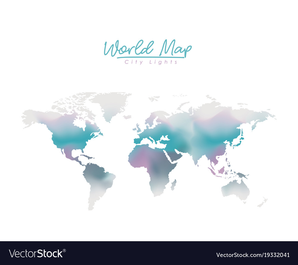 world map city lights in degraded purple to blue vector image