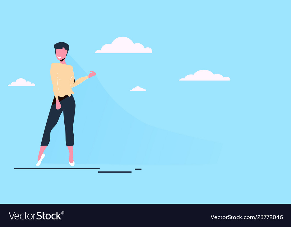 Casual woman standing pose happy brunette girl