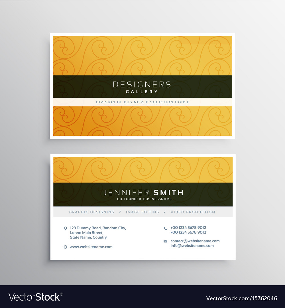 Clean yellow business card design with elegant vector image colourmoves