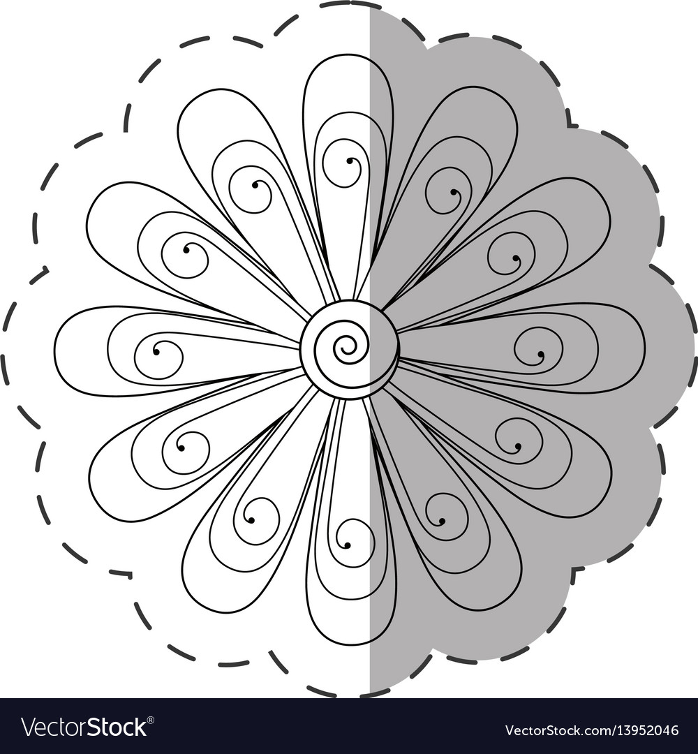 Daisy flower decoration monochrome