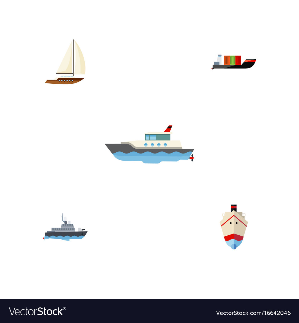 Flat icon vessel set of ship tanker sailboat and