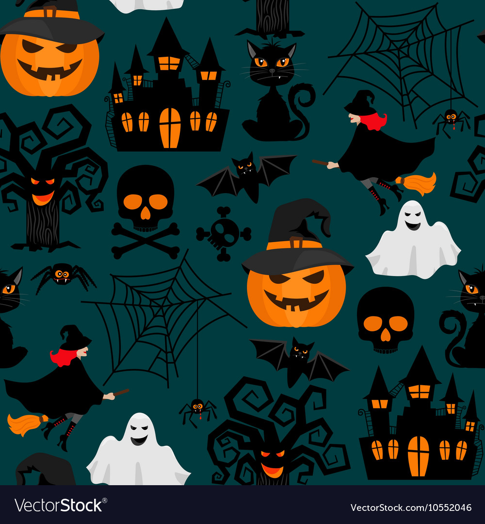 Halloween crafts wrapping seamless pattern