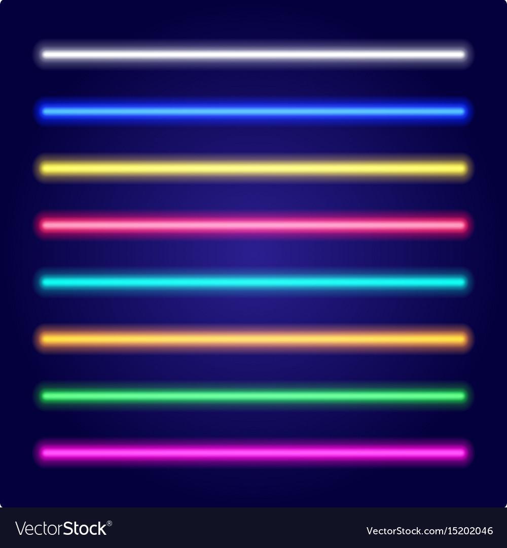 Set of color laser beams neon tube light vector image
