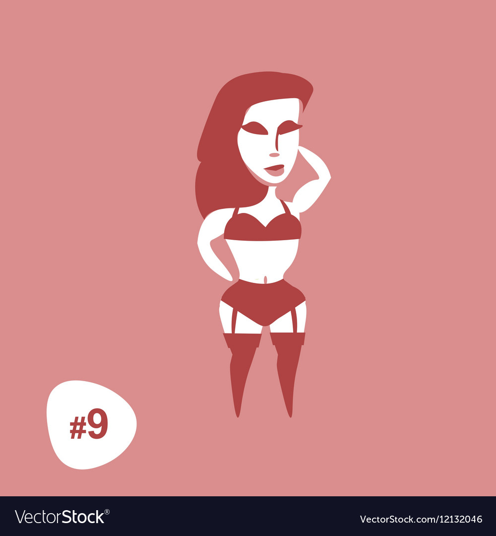 Silhouettes Sexy Standing Girl in Lingerie