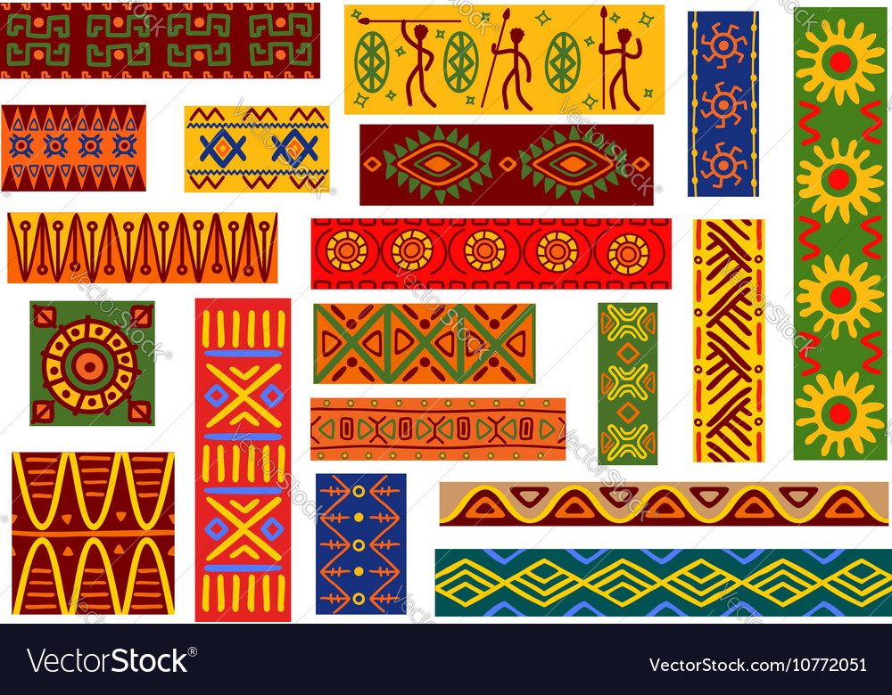 African Ethnic Ornaments And National Patterns Vector Image Impressive African Tribal Patterns