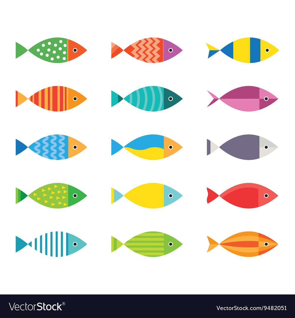 Aquarium fish icons set