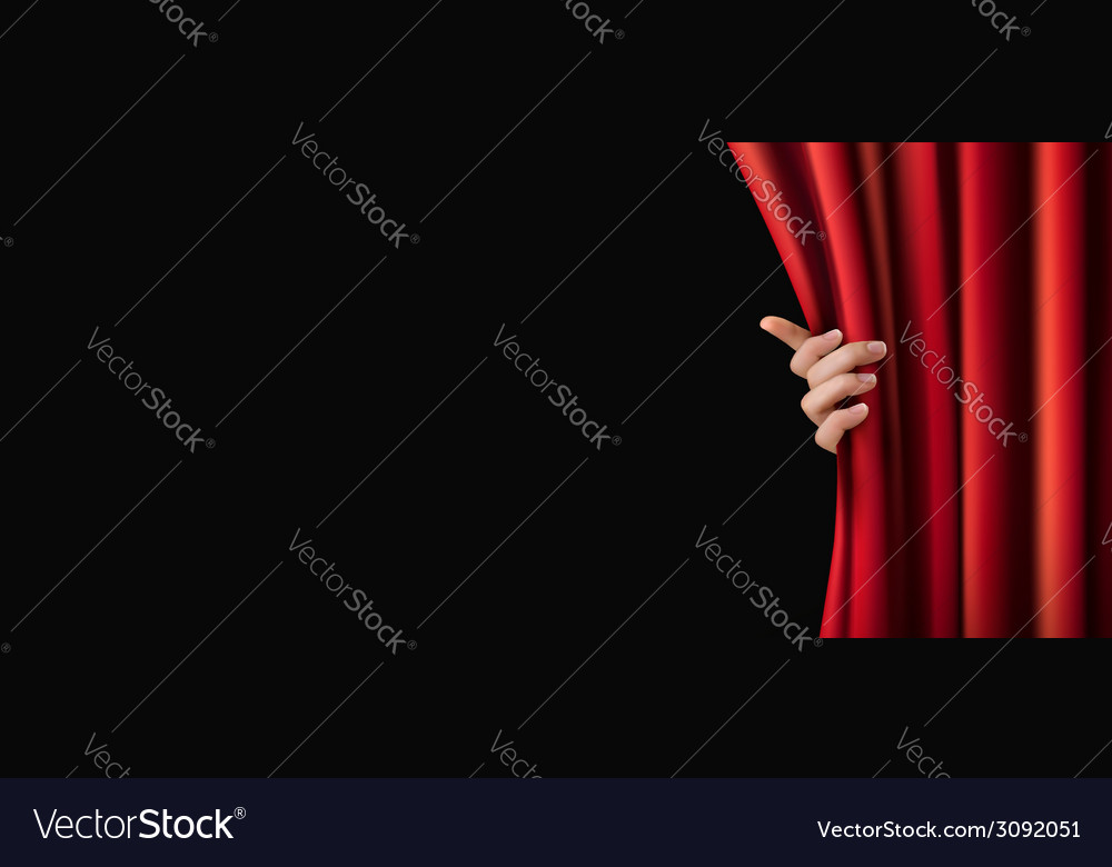 Background with red curtain and hand