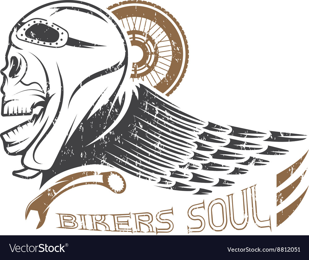 Bikers theme grunge label with skullwheel and wing